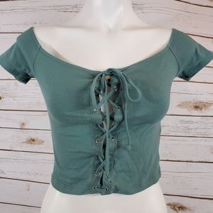 Charlotte Russ Laced Green Crop Top Size Small